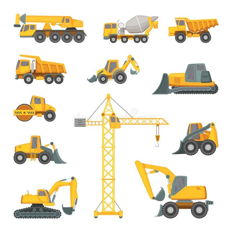 Máquinas de la construcción pesada El excavador, la niveladora y la otra técnica Ejemplos del vector en estilo de la historieta ilustración del vector