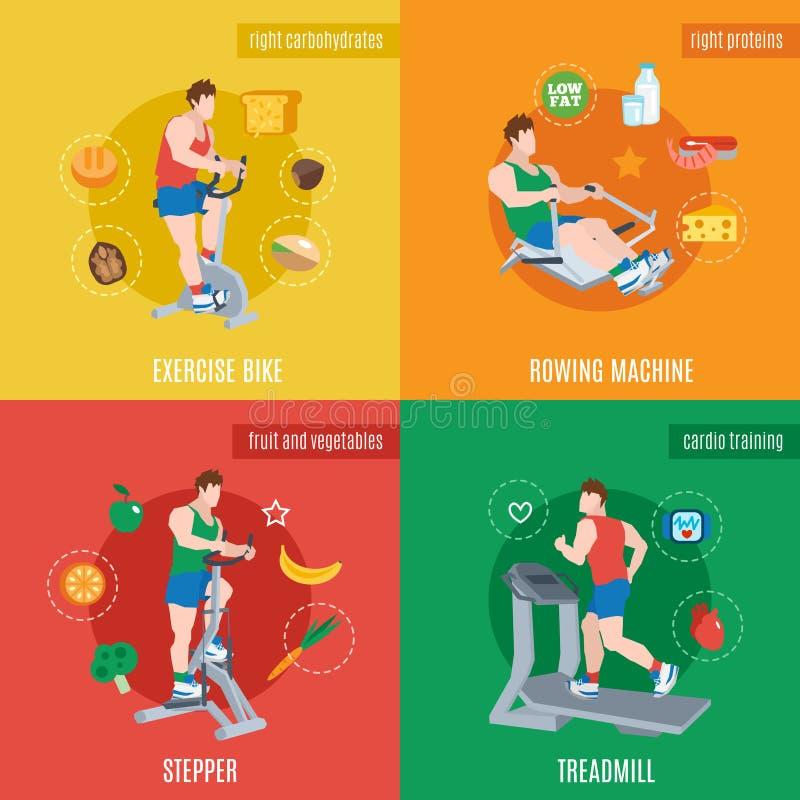 Máquinas del ejercicio fijadas stock de ilustración