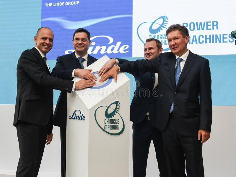 Máquinas del poder de PJSC, el líder de la industria rusa de la ingeniería eléctrica, y la compañía alemana Linde Group fotos de archivo libres de regalías