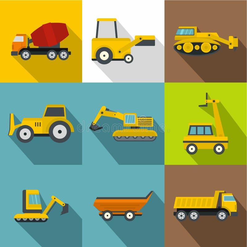 Máquinas especiales para los iconos de las construcciones fijados libre illustration