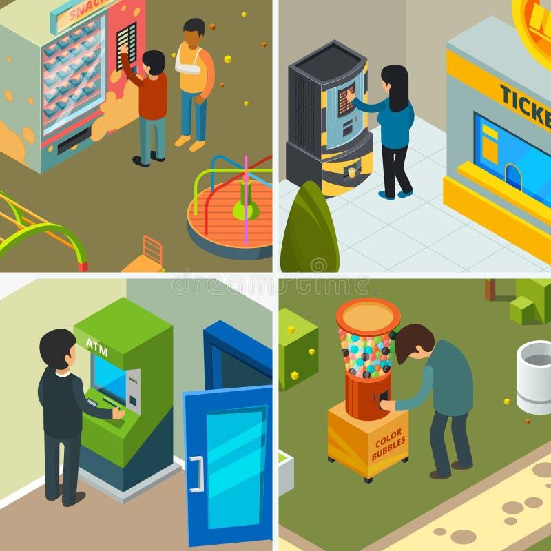 Máquinas expendedoras La gente que bebe comiendo microprocesadores de los bocados de los alimentos de preparación rápida la compr libre illustration