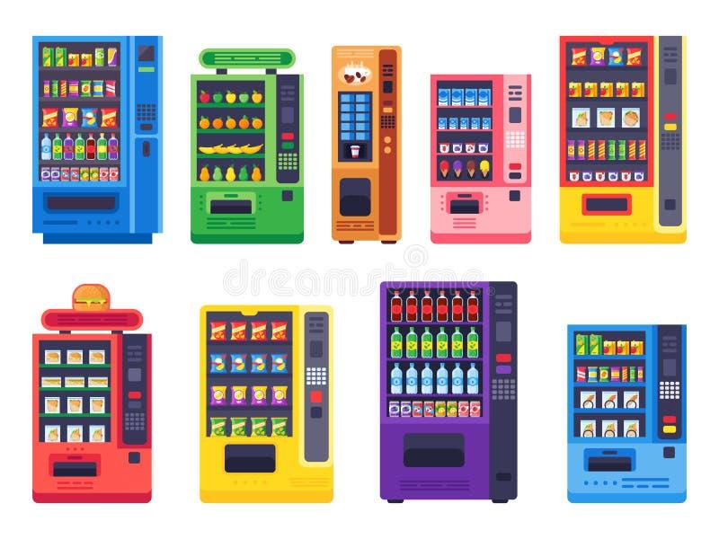 Máquinas expendedoras planas Comida de bocados, bebidas heladas y sistema del ejemplo del vector de la máquina del caramelo ilustración del vector