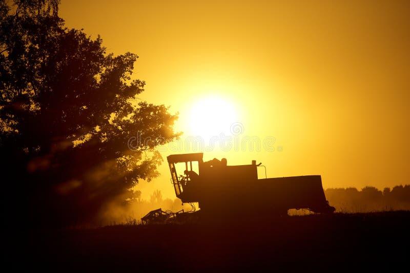Máquinas para cosechar adentro del sol fotos de archivo