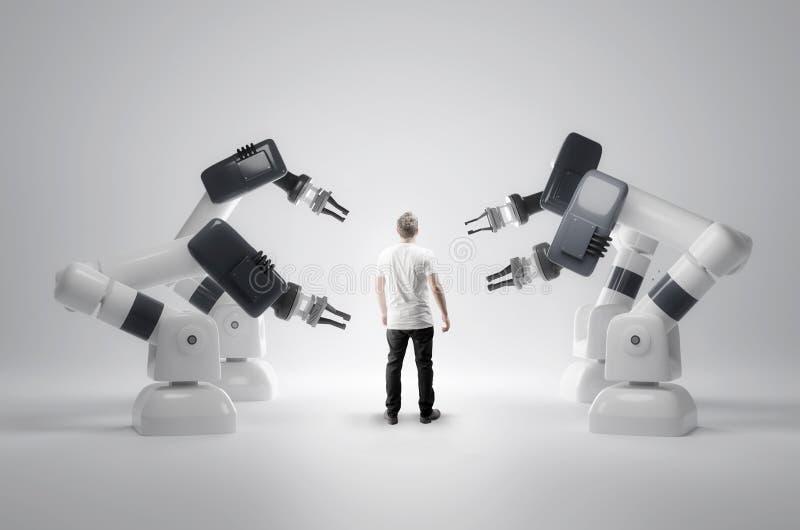 Máquinas robóticos e seres humanos imagens de stock