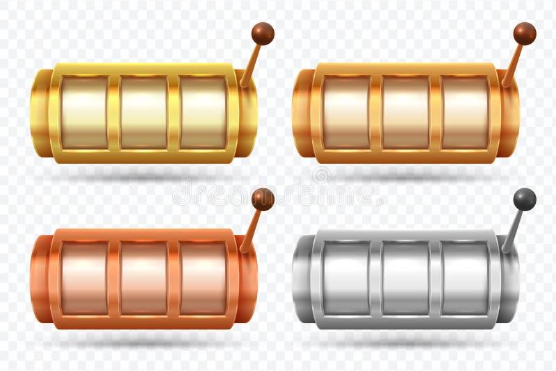 Máquinas tragaperras Hiladora del bote de oro, de plata y de bronce Sistema del vector del juego del juego del casino ilustración del vector