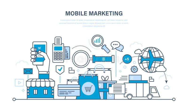Márketing, análisis y estadísticas móviles, compras en línea, gestión libre illustration