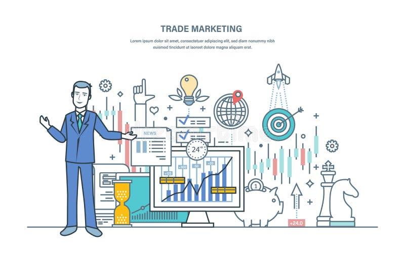 Márketing comercial Mercado de acción financiero, mercado de capitales, comercio electrónico, inversiones libre illustration