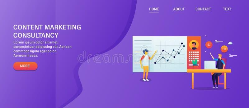 Márketing contento, agencia de comercialización digital, consulta contenta en línea de la promoción, concepto de la compañía de p stock de ilustración