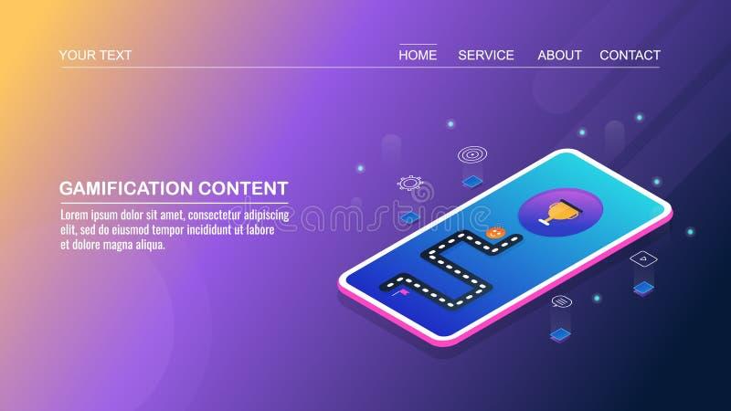 Márketing contento, contenido del gamification para el compromiso de la audiencia, digital, haciendo publicidad, promoción social ilustración del vector