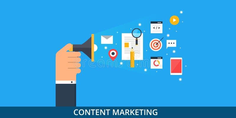 Márketing contento - promoción contenta - concepto de marcado en caliente digital - bandera plana del web ilustración del vector