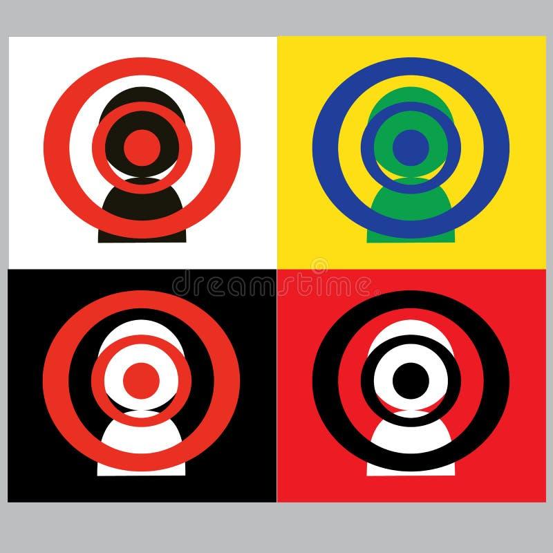 Márketing de blanco o logotipo de la persona de la audiencia libre illustration