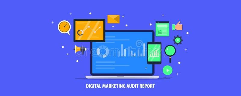 Márketing de Digitaces, análisis de datos de negocio, negocio en línea, informe de auditoría del sitio web, medios analytics soci ilustración del vector