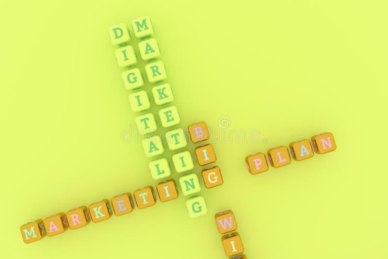Márketing de Digitaces, crucigrama de comercialización de la palabra clave Para la p?gina web, el dise?o gr?fico, la textura o el libre illustration