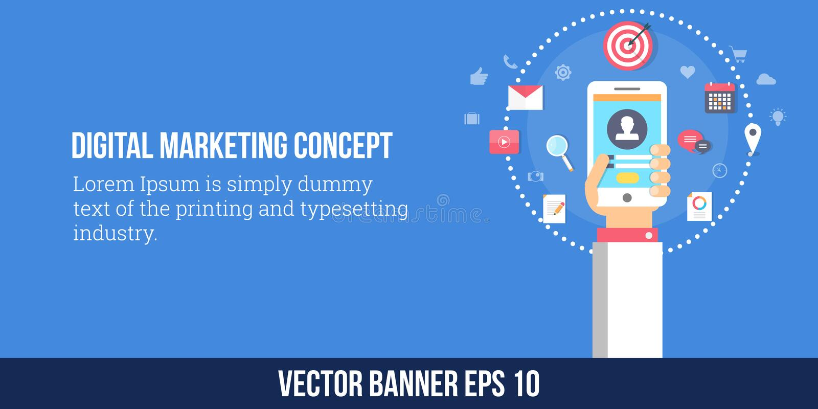 Márketing de Digitaces, estrategia de marketing móvil Bandera plana del vector del diseño libre illustration