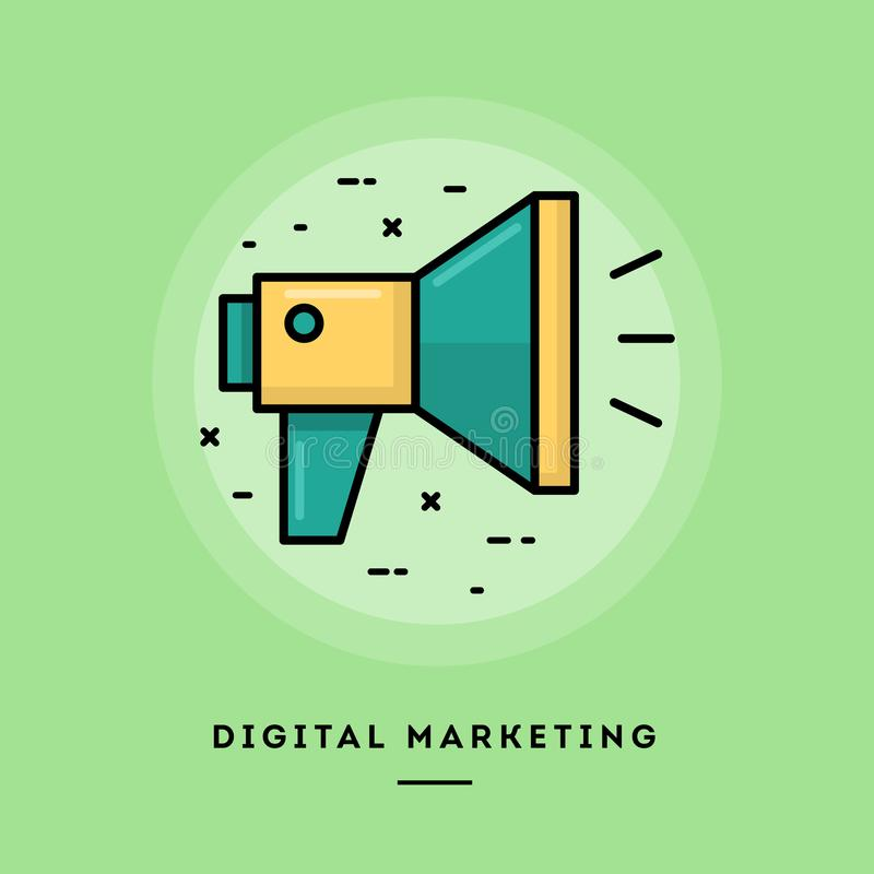Márketing de Digitaces, línea fina bandera del diseño plano stock de ilustración
