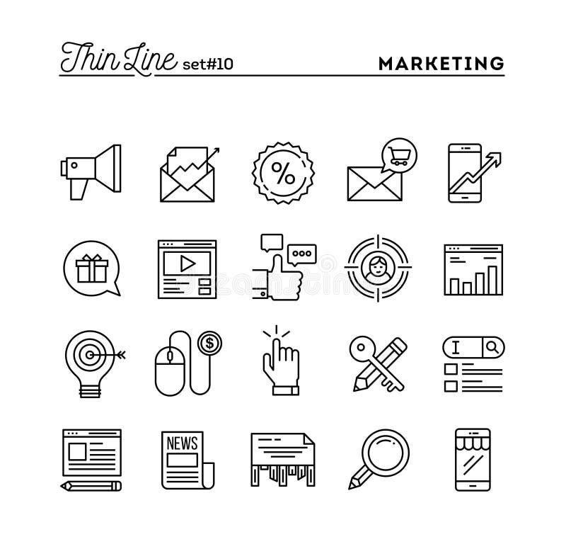 Márketing de Digitaces, negocio en línea, público objetivo, paga por el cli stock de ilustración