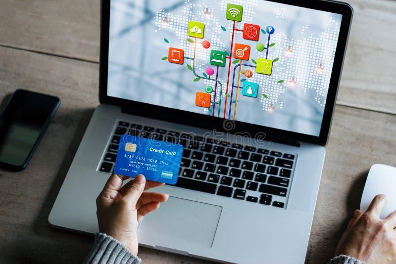 M?rketing de Digitaces, ordenador port?til de trabajo de la empresaria con la tarjeta de cr?dito, pago en l?nea y compras, deposi imagen de archivo libre de regalías