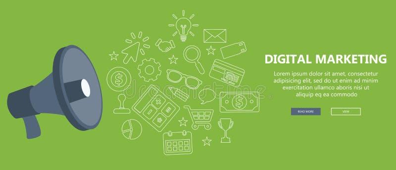 Márketing de Digitaces y concepto de la publicidad Ejemplo plano libre illustration