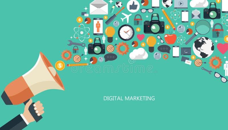 Márketing de Digitaces y concepto de la publicidad Ejemplo plano ilustración del vector