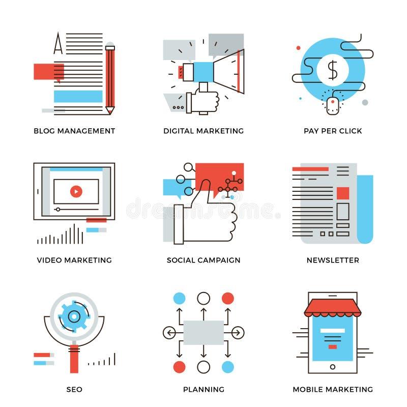 Márketing de Digitaces y línea iconos de la publicidad fijados libre illustration