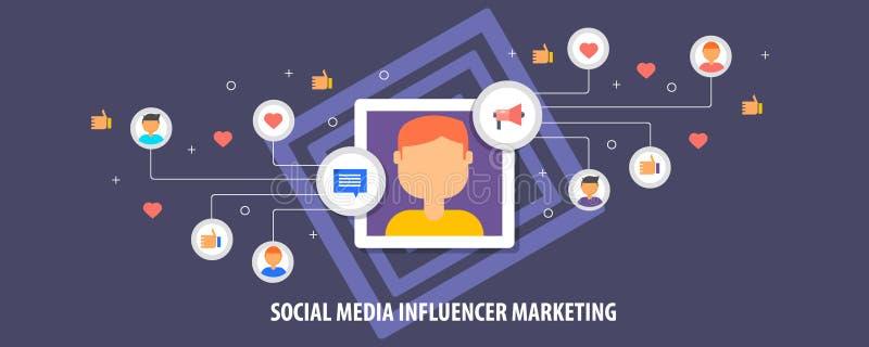 Márketing de Influencer en los medios sociales, bandera plana del vector del diseño ilustración del vector