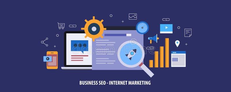 Márketing de Internet, seo para el sitio web en línea del negocio, contenido web, codificación, concepto de la gestión Bandera pl libre illustration