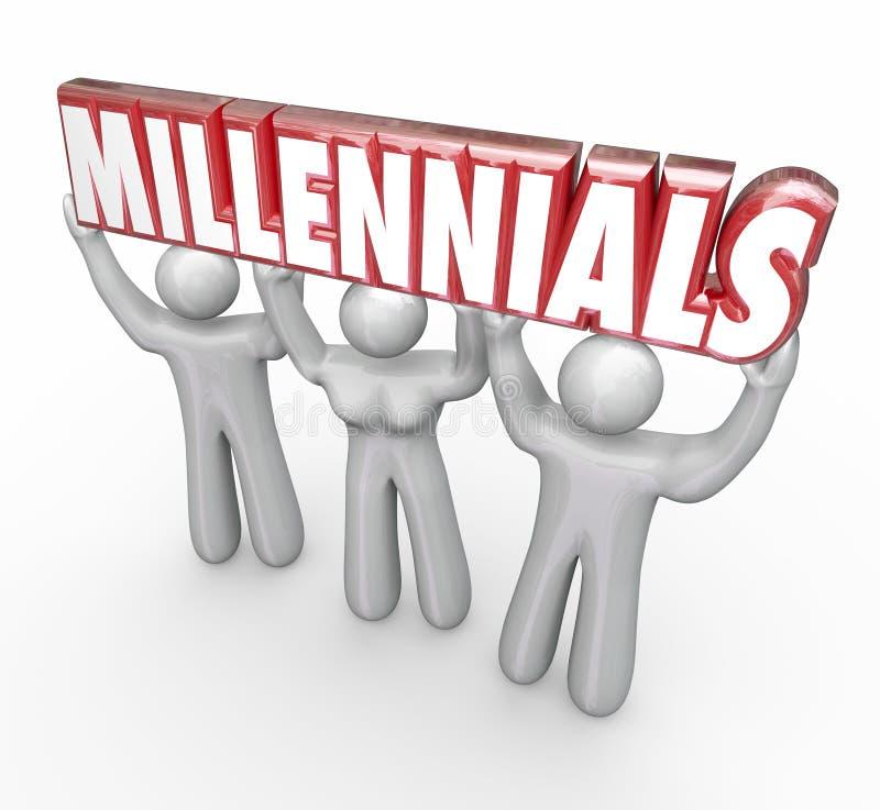 Márketing de juventud de elevación de la palabra de la gente joven de Millennials 3 stock de ilustración