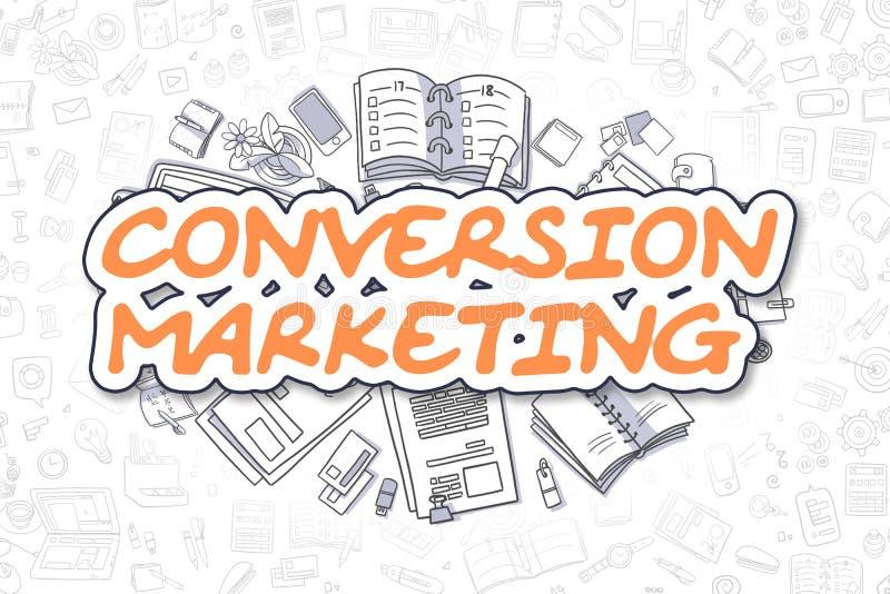 Márketing de la conversión - palabra de la naranja del garabato Concepto del asunto stock de ilustración