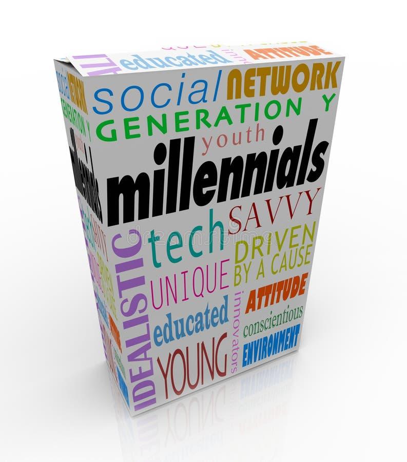 Márketing de la generación Y de la juventud del paquete de la caja del producto de Millennials ilustración del vector
