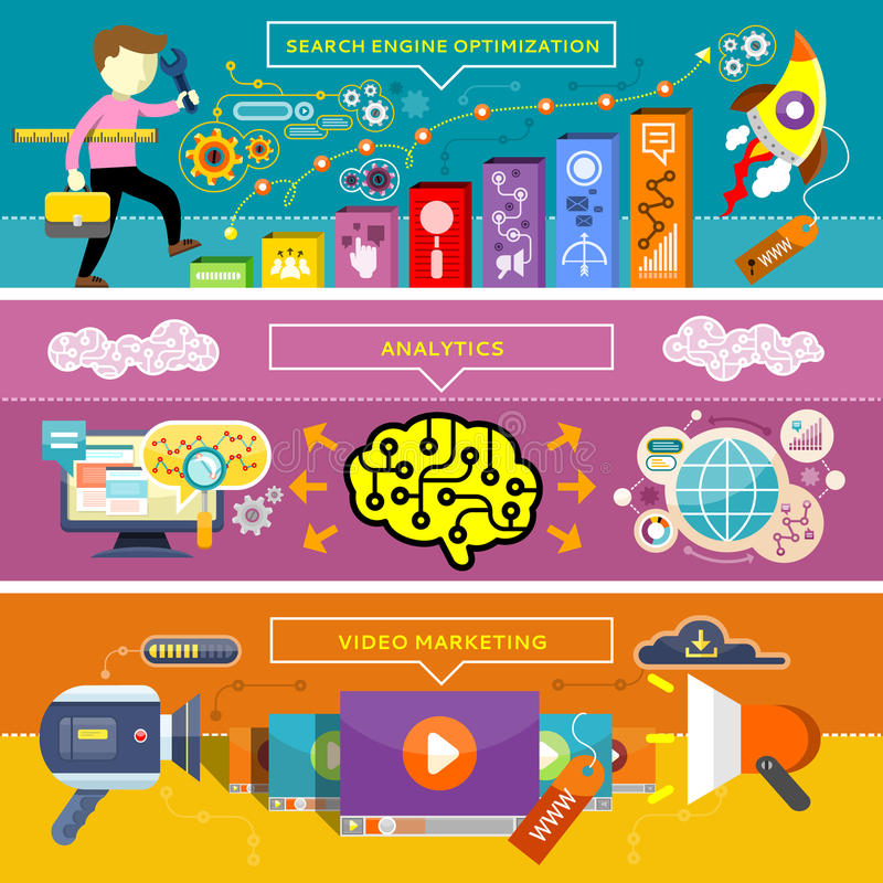 Márketing del Analytics, de SEO Optimization y del vídeo stock de ilustración