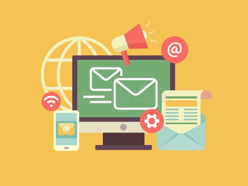 Márketing del correo electrónico ilustración del vector