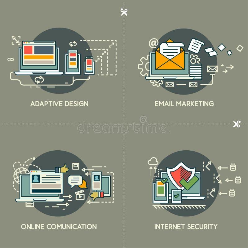 Márketing del correo electrónico, diseño adaptante, comunicación en línea, seguridad de Internet libre illustration