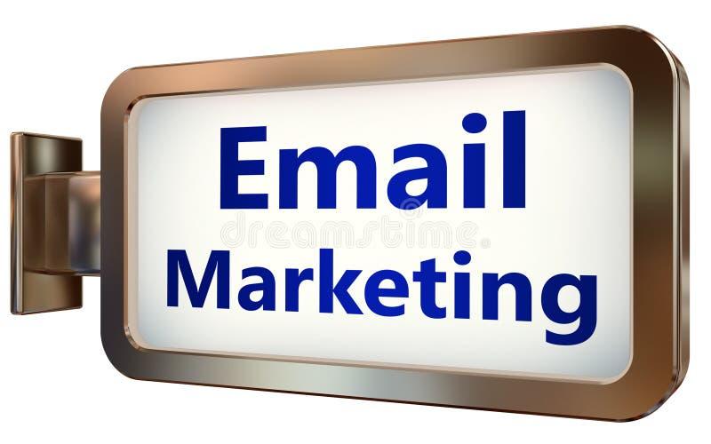 Márketing del correo electrónico en fondo de la cartelera stock de ilustración