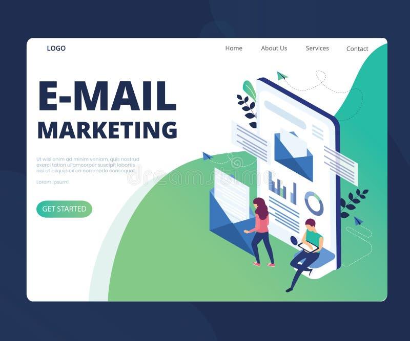 Márketing del correo electrónico para el concepto isométrico cada vez mayor de las ilustraciones del negocio stock de ilustración