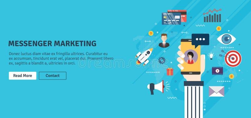 Márketing del mensajero, comunicación en negocio y publicidad móvil stock de ilustración