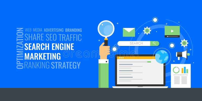 Márketing del Search Engine - concepto de la nube de la palabra Publicidad digital pagada - PPC Bandera digital del márketing del stock de ilustración