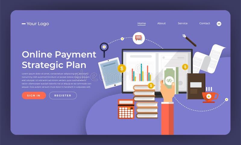 Márketing digital plano del concepto de diseño del sitio web del diseño de la maqueta En ilustración del vector