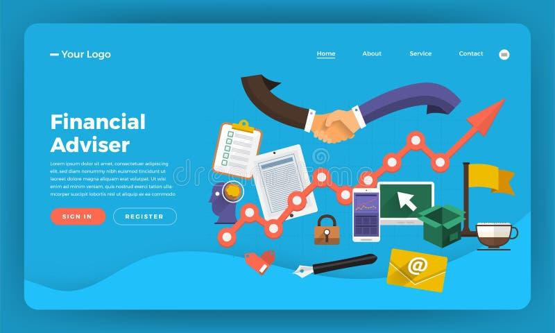 Márketing digital plano del concepto de diseño del sitio web del diseño de la maqueta Fi stock de ilustración