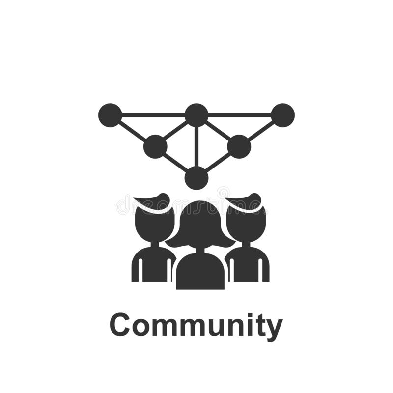 M?rketing en l?nea, icono de la comunidad Elemento del icono de comercializaci?n en l?nea Icono superior del dise?o gr?fico de la stock de ilustración