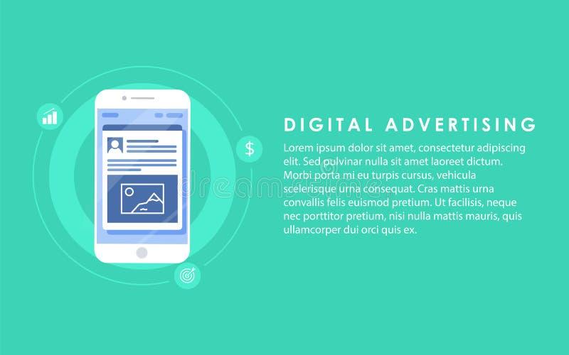Márketing en línea social de los anuncios de la publicidad de Digitaces medios Concepto del ejemplo stock de ilustración