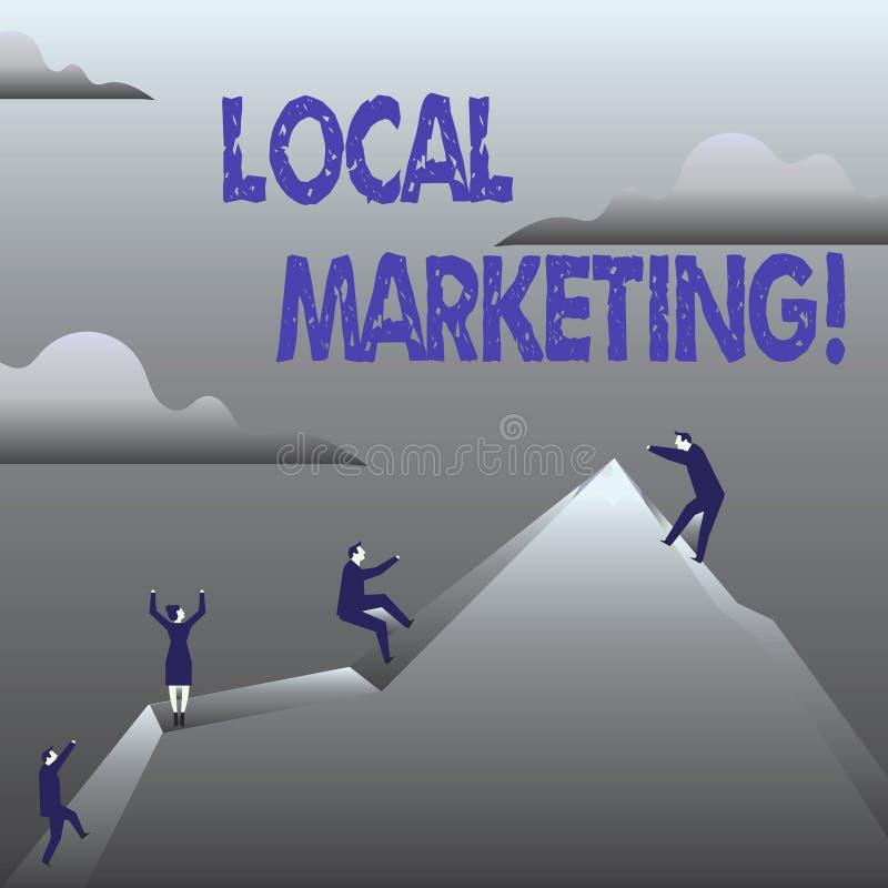 Márketing local del texto de la escritura Avisos comerciales de la publicidad regional del significado del concepto localmente ilustración del vector