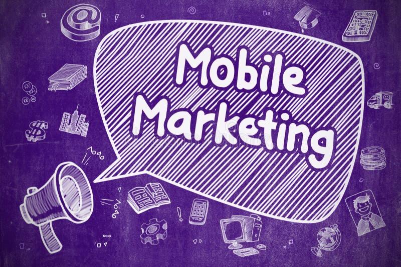 Márketing móvil - ejemplo del garabato en la pizarra púrpura ilustración del vector