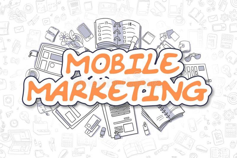 Márketing móvil - texto de la naranja de la historieta Concepto del asunto stock de ilustración