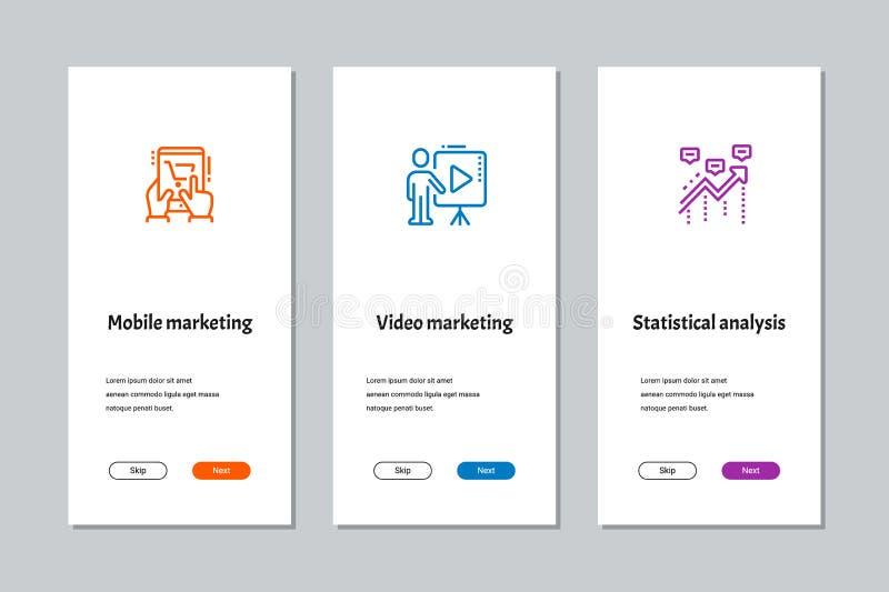 Márketing móvil, márketing video, pantallas onboarding del análisis estadístico libre illustration