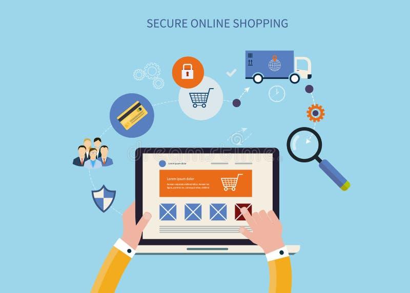Márketing móvil y compras en línea stock de ilustración