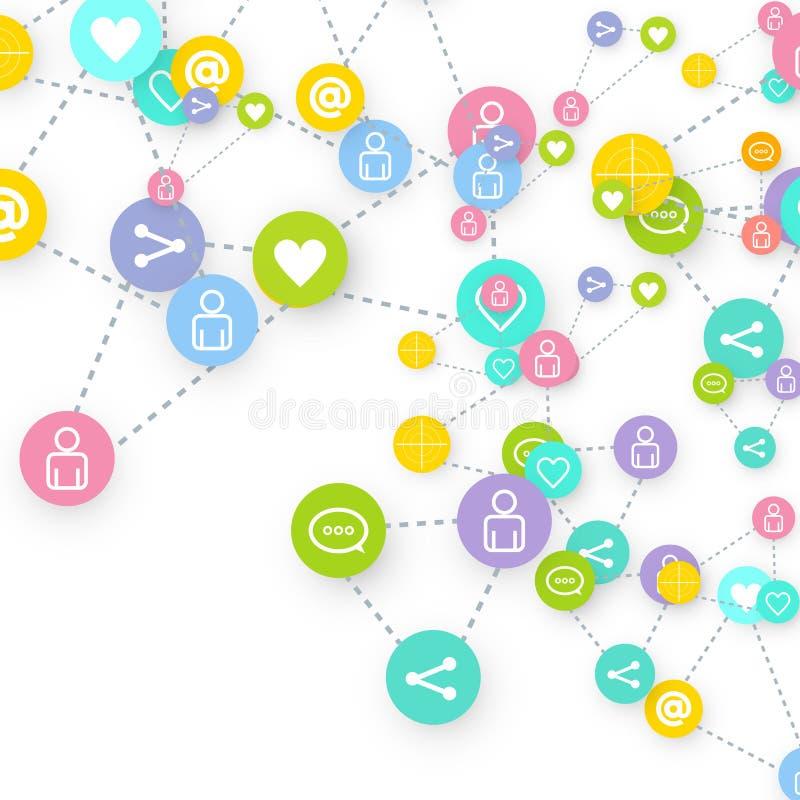 Márketing social de los medios, establecimiento de una red de la comunicación stock de ilustración
