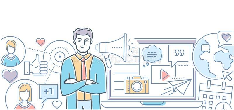 Márketing social de los medios - línea moderna ejemplo del estilo del diseño stock de ilustración