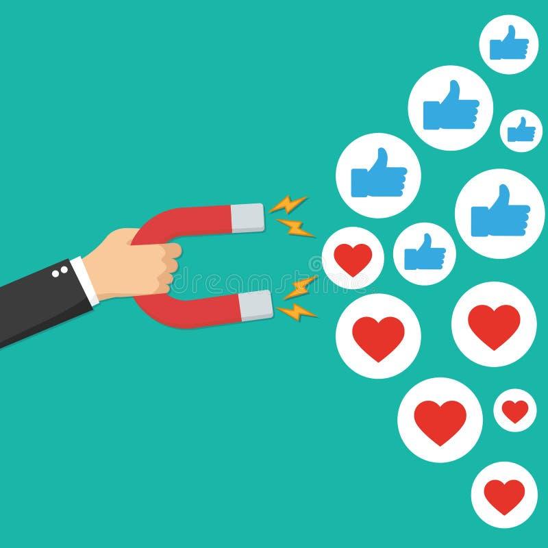 márketing social del concepto medios Imán que atrae gustos Vector en plano libre illustration