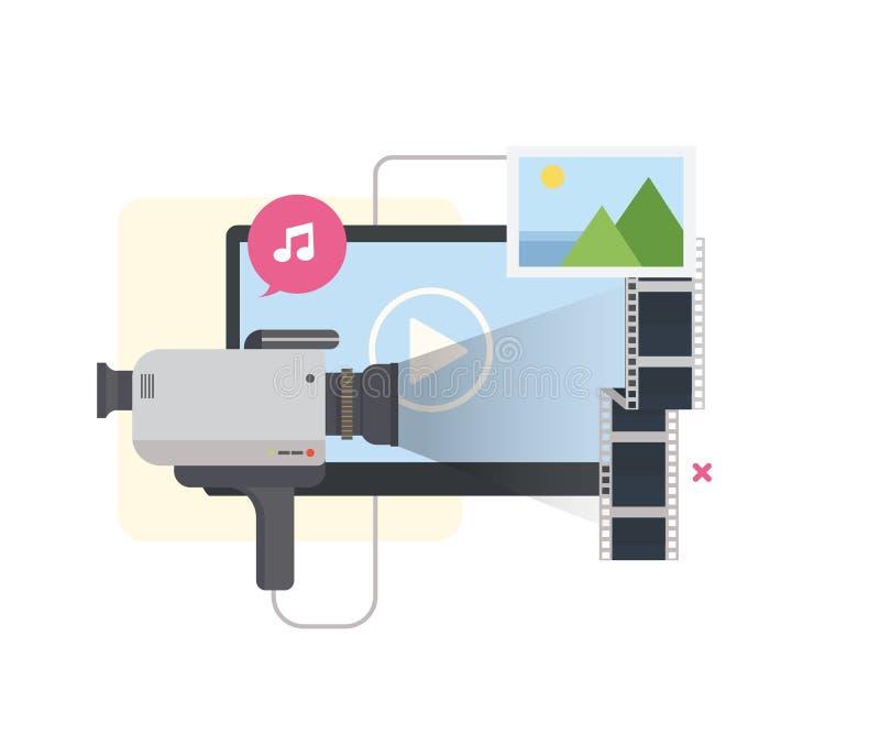 Márketing video ilustración del vector
