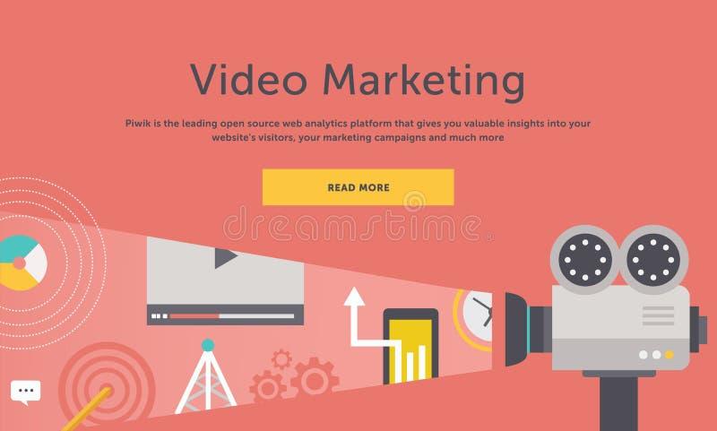 Márketing video Concepto para la bandera, presentación ilustración del vector